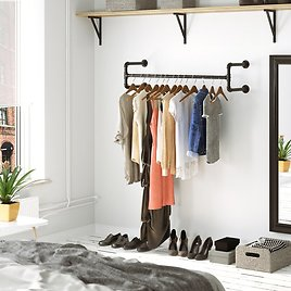 """Holms 43.3"""" W Wall-Mounted Clothes Rack"""