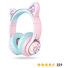 IClever Cat Ear Bluetooth Headphones RGB LED Light Up Over Ear with Microphone, 74/85/94dB Volume Limiting Comfort Foldable Wireless Headset for PC/Tablet/iPad/TV Kids Girls & Boys Teens, BTH13 Pink