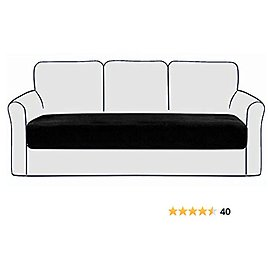 CCTFS Velvet Sofa Cushion Covers,Couch Seat Slipcovers Stretch Durable Sofa Seat Covers Furniture Protector for Sofa Seat in LivingRoom (L Black Cushion Cover)