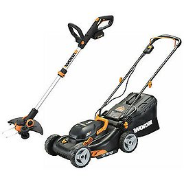 """WORX WG911 2X20V 17"""" Lawn Mower Powershare with 12"""" Cordless GT Trimmer & Edger 845534020885"""