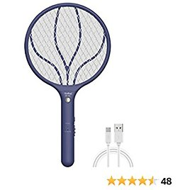 Endbug Rechargeable Fly Swatter Racket Handheld Bug Zapper with LED Light, USB Charging Electric Mosquito, Fly Insect Killer Indoor Outdoor (Navy Blue)