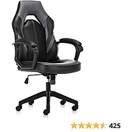 Gaming Chair, Racing Ergonomic Executive Computer Video Game Office Chairs Bonded Leather with Padding Armrest, Grey
