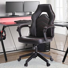 Yangming Racing Gaming Chair, Leather High-Back Office Chair Reclining Computer Chair Weight Capacity 250lbs, Black