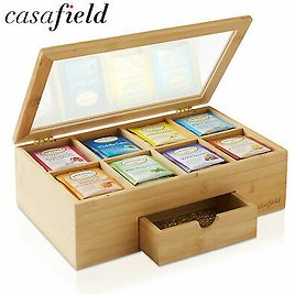 Bamboo Tea Box with Drawer, Storage Chest for Tea Bags and Packets w/ Hinged Lid