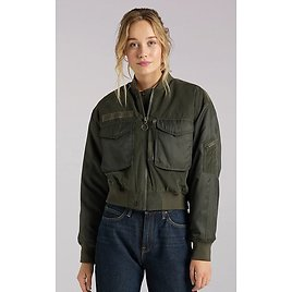 Women's Lee European Collection Sateen Bomber Jacket in Olive Green