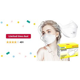 Limited-time Deal: KN95 Face Mask 50Pcs for Small Face, 4-Layer Non-Stick Lipstick Design Safety Masks, Breathable Protection Masks Against PM2.5 Dust Bulk, White