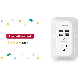 Limited-time Deal: USB Wall Charger Surge Protector 5 Outlet Extender with 4 USB Charging Ports ( 1 USB C Outlet) 3 Sided 1800J Power Strip Multi Plug Outlets Wall Adapter Spaced for Home Travel Office ETL Listed