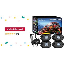 Limited-time Deal: Nilight RGB LED Rock Lights Kit, 4 Pods Underglow Multicolor Neon Light Pod with Bluetooth App Control Flashing Music Mode Wheel Well Light for Truck ATV UTV RZR SUV