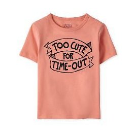 Baby And Toddler Boys Short Sleeve 'Too Cute For Time Out' Graphic Tee