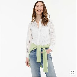 Classic-fit Shirt in Eyelet