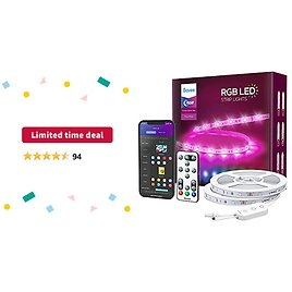 Limited-time Deal: Govee Smart LED Strip Lights, 49.2ft WiFi RGB Led Lights Work with Alexa and Google Assistant, App Control Lighting Kit, Music Sync Color Changing for Bedroom, Living Room, Home, Party