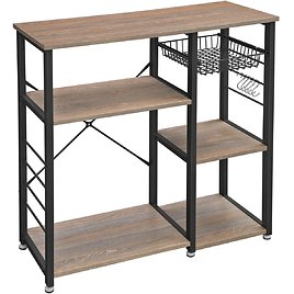 """Kitchen Baker's Rack, Coffee Bar with Wire Basket 6 Hooks Microwave Oven Stand Metal Frame Wood Look, 35.4"""", Weathered Sand"""
