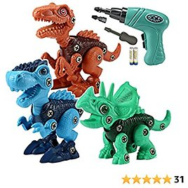 LeonMake Kids Building Dinosaur Toys: 3 Pack Dino Take Apart Toys with Electric Screwdriver for Ages 3-7 Yr Boys & Girls | Educational Kit Stem Toys for 3 4 5 6 7 Year Old | Toddler Birthday Gifts
