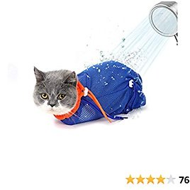 GAPZER Cat Bathing Bag, Adjustable Breathable Mesh Anti-bite & Scratch Restraint Kitty Puppy Grooming Bag for Cat's Shower, Nail Trimming