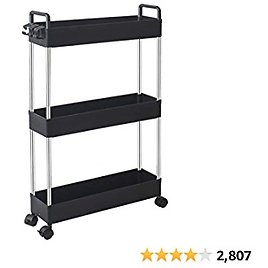 Storage Cart 3-Tier Slim Mobile Shelving Unit Rolling Bathroom Carts with Handle for Kitchen Bathroom Laundry Room Narrow Places