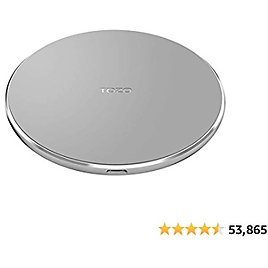 TOZO W1 Wireless Charger Thin Aviation Aluminum Computer Numerical Control Technology Fast Charging Pad Gray (NO AC Adapter)