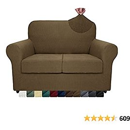 ZNSAYOTX 3-Piece Loveseat Slipcovers High Stretch Spandex Sofa Slip Cover Living Room Love Seat Couch Covers for 2 Cushion Couch Jacquard Small Checks Furniture Protector (Brown, Loveseat)