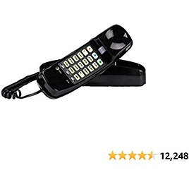 AT&T 210 Basic Trimline Corded Phone, No AC Power Required, Wall-Mountable, Black