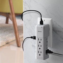 Aduro Surge Protector 9 Outlet Power Strip with 2 USB Ports Multiple Outlet Extender Adapter White