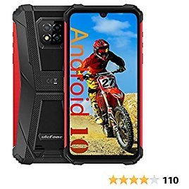 """Ulefone Armor 8 Rugged Smartphone Unlocked, Android 10 Helio P60 Octa-core 4GB + 64GB ROM Mobile Phone, 16MP Triple Rear Camera, 6.1"""" HD+ Display 5580mAh Battery Dual SIM 4G Rugged Cell Phones -Red"""