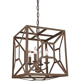 Feiss Marquelle 4-Light Weathered Iron Rustic Industrial Hanging Cage Candlestick Chandelier-F3171/4WI