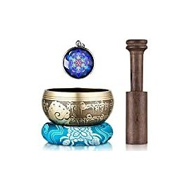 Tibetan Singing Bowl Set - Sing Bowl Unique Gift Helpful for Meditation, Yoga, Relaxation, Chakra Healing, Prayer and Mindfulness (Golden): Musical Instruments