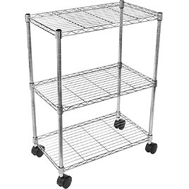 Simple Deluxe Heavy Duty 3-Shelf Shelving with Wheels, Chrome
