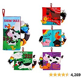 Beiens Soft Toys Baby Cloth Books, Touch and Feel Crinkle Books for Babies, Infants & Toddler, Early Development Interactive Car Toys & Stroller Toys for Boys & Girls (Farm Tails-1 Book)