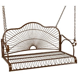 Hanging Iron Porch Swing Patio Furniture w/ Armrests, Chains