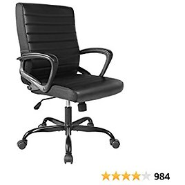 Office Chair Bonded Leather, Ergonomic Executive Computer Task Office Desk Chair Mid-Back with Swiveling Casters for Home Office Conference Room