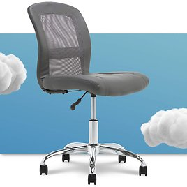 Serta Essential Mesh Low-Back Computer Desk Task Chair with No Arms, Faux Leather, Gray