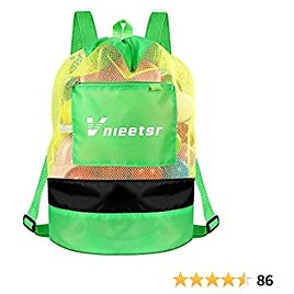 Vnieetsr Beach Bag,Extra Large Mesh Beach Backpack Durable Adjustable Shoulder Strap Bag Beach Toys Drawstring Storage Bag for Swimming,Gym,Toys Not Included (Green)