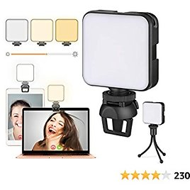 Video Conference Lighting Kit, Laptop Webcam Lighting with Clip, LED Camera Light for Photography, Zoom Meeting, Remote Working, Streaming and Self Broadcasting, Vlogging(Dimmable & Rechargeable)