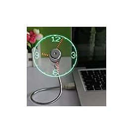 New USB Clock Fan with Real Time Clock and Temperature Display Function,Silver,1 Year Warranty (Temperature and Clock): Computers & Accessories