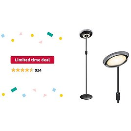 Limited-time Deal: Miroco Floor Lamp, LED Sky Modern Torchiere Floor Lamp 4 Brightness Levels & 4 Color Temperatures, 1H Timer, Height Adjustable Mother Daughter Lamp for Office Bedroom Living Room(Black)