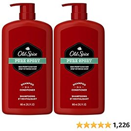 Old Spice Pure Sport 2in1 Shampoo and Conditioner for Men, Twin Pack, Lemon, 58.4 Fl Oz