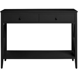 StyleWell Oakley Black Wood 2 Drawer Console Table with X Side Detail (39.37 In. W X 29.3 In. H)-CS1901083-BLK