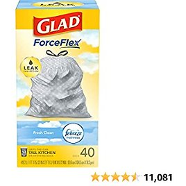 Glad ForceFlex Tall Kitchen Drawstring Trash Bags, Fresh Clean, 13 Gal, 40 Ct (Package May Vary) Amazon