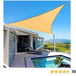 COOLYARD Sun Shade Sail Triangle 16'x16'x16' Sun Sail Shades Canopy Awnings with Ropes UV Block Sunshade for Patio Deck Backyard Lawn Garden Pool Outdoor Activities,Sand