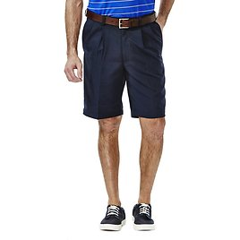 FS + Haggar Cool 18® Shorts (Regular Fit, Pleated Front, Expandable Waistband)