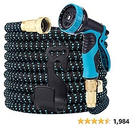 LOOHUU Expandable Garden Hose 50ft, Water Hose with Triple Latex Core, 3/4 Solid Brass Fittings, Extra Strength 3750D Fabric, 10 Function Spray Nozzle