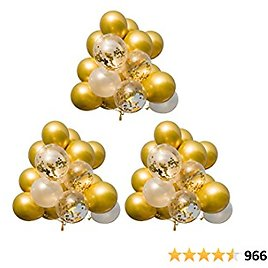60PCS Premium Gold Balloons & Gold Confetti Balloons & White Balloons with Ribbon, 12 Inches Latex Party Balloons Bulk, Helium Golden Balloons for Wedding Birthday Graduation Parties Supplies