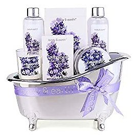 Spa Gifts for Women,Body & Earth Lavender Scented , Gifts Set for Women ,7 Pcs Spa Gift with Shower Gel, Bubble Bath, Bath Salts ,Body Lotion, Scented Candle, Best Gift for Her: Kitchen & Dining