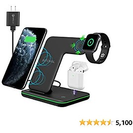 Intoval Wireless Charger, 3 in 1 Charger for IPhone/iWatch/Airpods, Qi-Certified Charging Station for IPhone 12/11/Pro/Max/XS/Max/XR/XS/X, IWatch 6/SE/5/4/3/2, Airpods Pro/2/1 (Z5,Black)