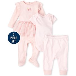 Baby Girls Rose Coverall 3-Piece Set
