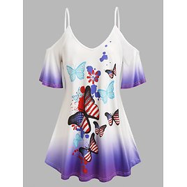 Plus Size Butterfly Print Ombre Color Cold Shoulder Tee - 1x