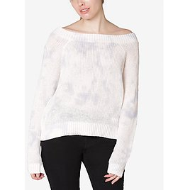Juniors' Cotton Tie-Dyed Off-The-Shoulder Sweater