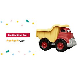 Limited-time Deal: Green Toys Dump Truck in Yellow and Red - BPA Free, Phthalates Free Play Toys for Gross Motor, Fine Motor Skill Development. Pretend Play