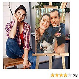 AZYV DIY Paint By Numbers Photo Personalise Custom Make Your Own Digital Painting Pets Portraits Baby Wedding Photos PBN Oil Painting Kits Home Decor Children Gift (No Frame,16X20 Inch 24 Color)