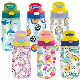 49% OFF! 3-PACK: Kids Assorted Water Bottles with Auto Straw